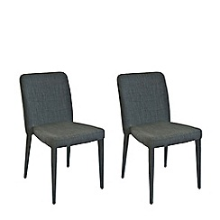 Willis & Gambier - Pair of grey 'Emilio' upholstered dining chairs with oak legs