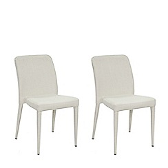 Willis & Gambier - Pair of beige 'Emilio' upholstered dining chairs with oak legs