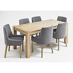 Debenhams - Oak 'Turin' double end extending table and 6 blue scoop back chairs