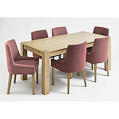 Debenhams - Oak 'Turin' double end extending table and 6 purple scoop back chairs
