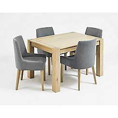 Debenhams - Oak 'Turin' small extending table and 4 blue scoop back chairs