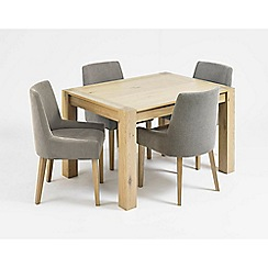 Debenhams - Oak 'Turin' small extending table and 4 grey scoop back chairs