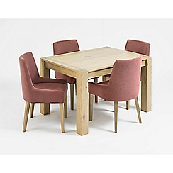 Debenhams - Oak 'Turin' small extending table and 4 purple scoop back chairs