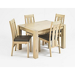 Debenhams - Oak 'Turin' small extending table and 4 slatted back chairs