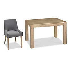 Debenhams - Oak 'Turin' small extending table and 6 blue scoop back chairs