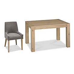 Debenhams - Oak 'Turin' small extending table and 6 grey scoop back chairs