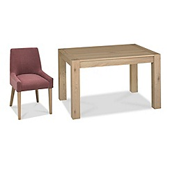 Debenhams - Oak 'Turin' small extending table and 6 purple scoop back chairs