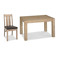 Debenhams - Oak 'Turin' small extending table and 6 slatted back chairs