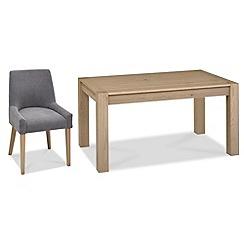 Debenhams - Oak 'Turin' medium extending table and 4 blue scoop back chairs