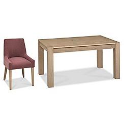 Debenhams - Oak 'Turin' medium extending table and 4 purple scoop back chairs
