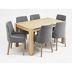 Debenhams - Oak 'Turin' medium extending table and 6 blue scoop back chairs