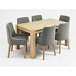 Debenhams - Oak 'Turin' medium extending table and 6 grey scoop back chairs