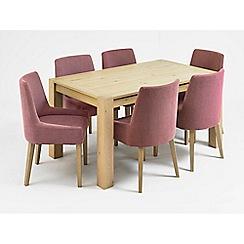 Debenhams - Oak 'Turin' medium extending table and 6 purple scoop back chairs