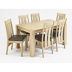 Debenhams - Oak 'Turin' medium extending table and 6 slatted back chairs