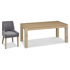 Debenhams - Oak 'Turin' large extending table and 4 blue scoop back chairs