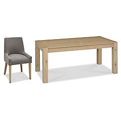 Debenhams - Oak 'Turin' large extending table and 4 grey scoop back chairs