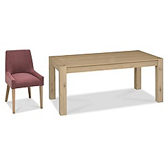 Debenhams - Oak 'Turin' large extending table and 4 purple scoop back chairs