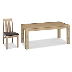 Debenhams - Oak 'Turin' large extending table and 4 slatted back chairs