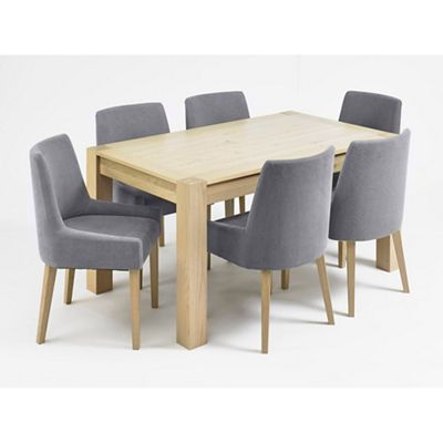 Debenhams Oak Turin Large Extending Table And 6 Blue Scoop Back Chairs
