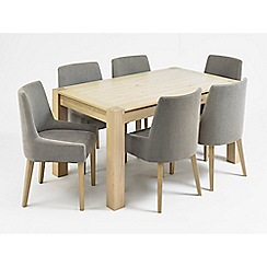Debenhams - Oak 'Turin' large extending table and 6 grey scoop back chairs