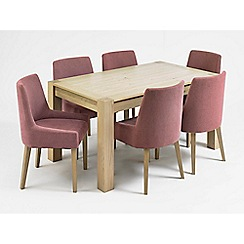 Debenhams - Oak 'Turin' large extending table and 6 purple scoop back chairs