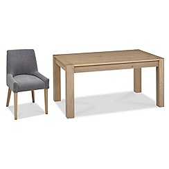 Debenhams - Oak 'Turin' fixed-top table and 4 blue scoop back chairs