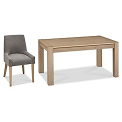 Debenhams - Oak 'Turin' fixed-top table and 4 grey scoop back chairs