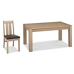 Debenhams - Oak 'Turin' fixed-top table and 4 slatted back chairs