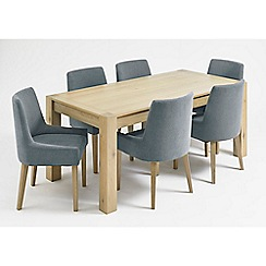 Debenhams - Oak 'Turin' fixed-top table and 6 blue scoop back chairs