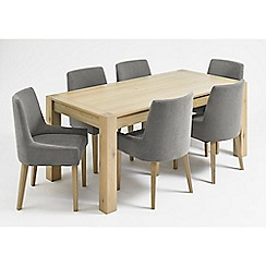 Debenhams - Oak 'Turin' fixed-top table and 6 grey scoop back chairs