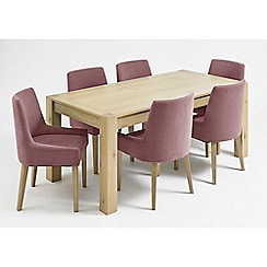 Debenhams - Oak 'Turin' fixed-top table and 6 purple scoop back chairs
