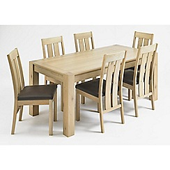 Debenhams - Oak 'Turin' fixed-top table and 6 slatted back chairs