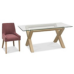 Debenhams - Oak and glass 'Turin' table and 4 purple scoop back chairs