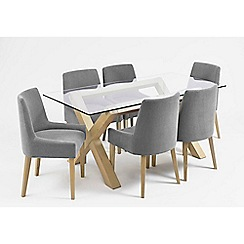 Debenhams - Oak and glass 'Turin' table and 6 blue scoop back chairs