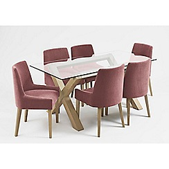 Debenhams - Oak and glass 'Turin' table and 6 purple scoop back chairs