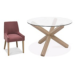 Debenhams - Oak and glass 'Turin' round table and 4 purple scoop back chairs