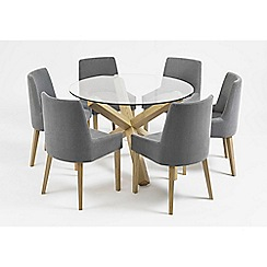 Debenhams - Oak and glass 'Turin' round table and 6 blue scoop back chairs