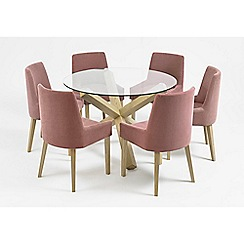 Debenhams - Oak and glass 'Turin' round table and 6 purple scoop back chairs