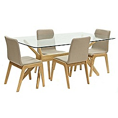 Willis & Gambier - Oak 'Willow' glass-top table and 4 grey upholstered chairs