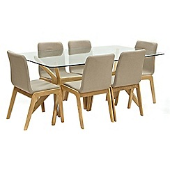 Willis & Gambier - Oak 'Willow' glass-top table and 6 grey upholstered chairs