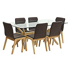 Willis & Gambier - Oak 'Willow' glass-top table and 6 brown upholstered chairs