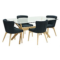 Willis & Gambier - Oak 'Willow' glass-top table and 4 grey 'Angelo' chairs
