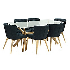 Willis & Gambier - Oak 'Willow' glass-top table and 6 grey 'Angelo' chairs