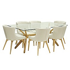 Willis & Gambier - Oak 'Willow' glass-top table and 6 beige 'Angelo' chairs
