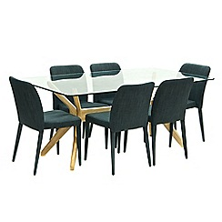 Willis & Gambier - Oak 'Willow' glass-top table and 6 grey 'Emilio' chairs