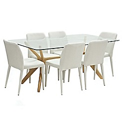 Willis & Gambier - Oak 'Willow' glass-top table and 6 beige 'Emilio' chairs