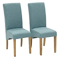 Willis & Gambier - Pair of blue 'Fletton' upholstered dining chairs with oak legs
