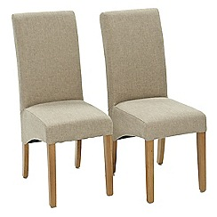 Willis & Gambier - Pair of beige 'Fletton' upholstered dining chairs with oak legs