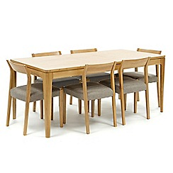RJR.John Rocha - Oak 'Efni' small extending dining table and 6 light grey chairs