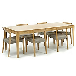 RJR.John Rocha - Oak 'Efni' large extending dining table and 6 light grey chairs